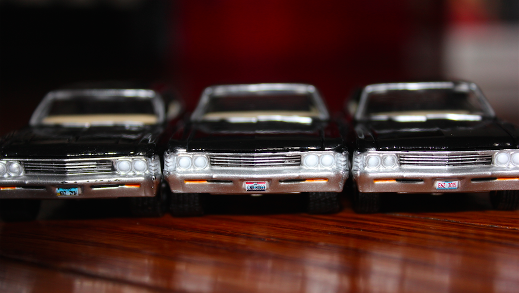 All Three 1:64 Chevy Impala from the entire Greenlight Collectibles Supernatural series.