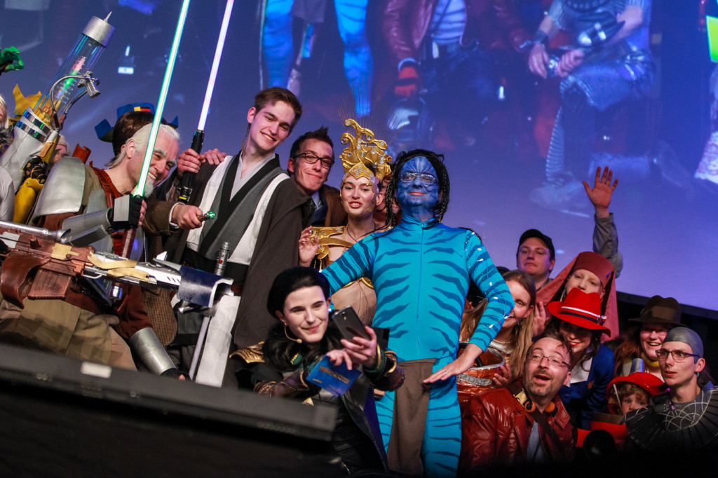 Group selfie with the Cosplay Contest participants