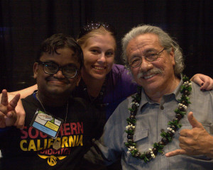 Left: Seneca, captain of the Honolulu Nightmarchers Quidditch Team Middle: Me Right: Edward James Olmos aka Admiral Adama