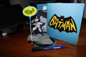 First up is the Q-Pop Batman figure from Quantum Mechanix. There's  sign and marker so, you can change the speech bubble. It's the classic 60s Batman as well.