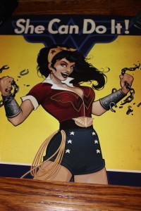 """Wonder Woman Bombshell Babe - """"She Can Do It"""" poster from DC Collectibles"""