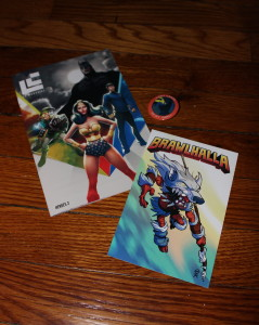 A Brawlhalla game promo code from Blue Mammoth Games, as well as the Loot Crate Magazine and Loot Crate July 2015 - Heroes 2 Pin.