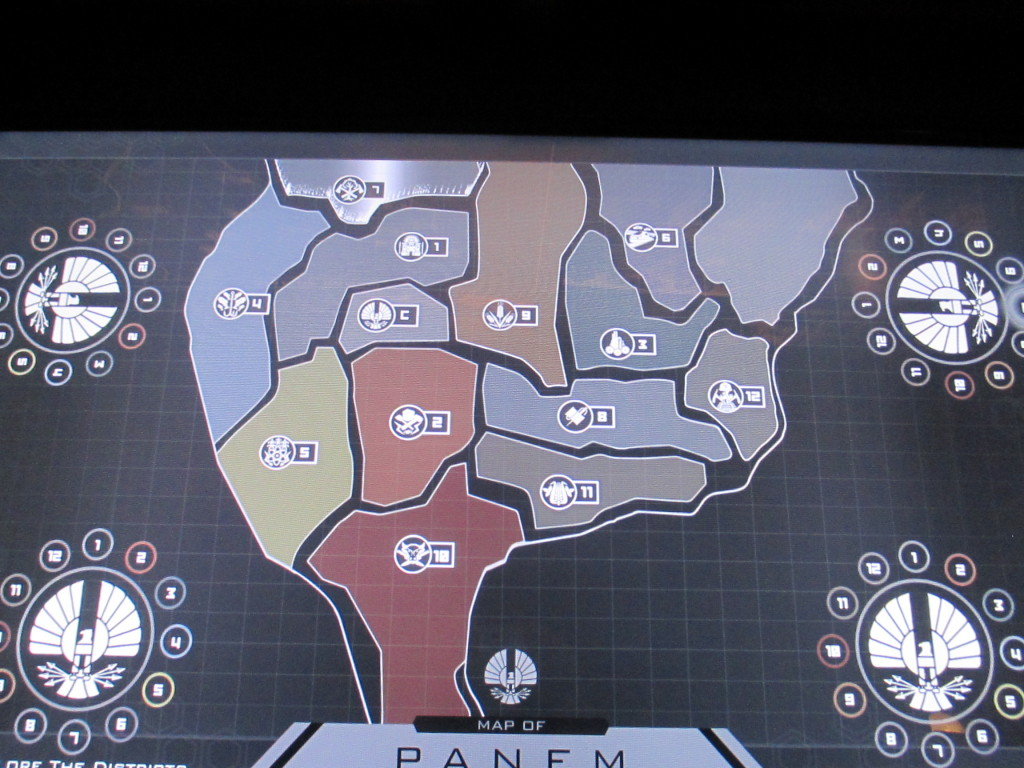This touch-activated map screen teaches you all about the different districts in Panem.