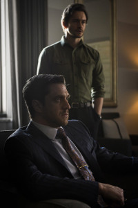 "HANNIBAL -- ""The Number of the Beast is 666"" Episode 312 -- Pictured: (l-r) Raul Esparza as Dr. Chilton, Hugh Dancy as Will Graham -- (Photo by: Brooke Palmer/NBC)"