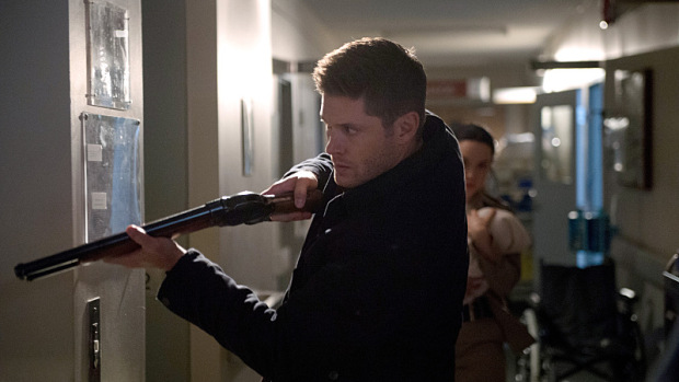"Supernatural -- ""Out of the Darkness, Into the Fire"" -- Image SN1102B_0169.jpg -- Pictured (L-R): Jensen Ackles as Dean and Laci J. Mailey as Jenna Nickerson -- Photo: Diyah Pera/The CW -- © 2015 The CW Network, LLC. All Rights Reserved."