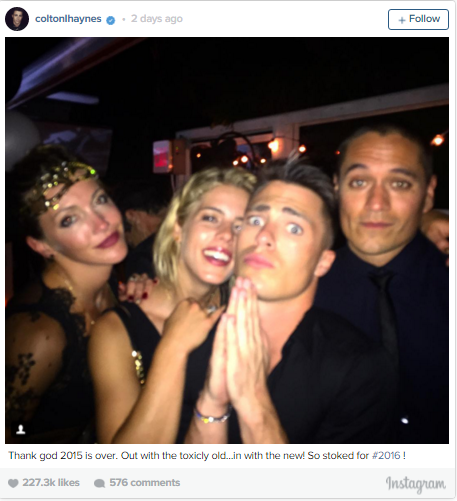 Colton Haynes with fellow Arrow actors