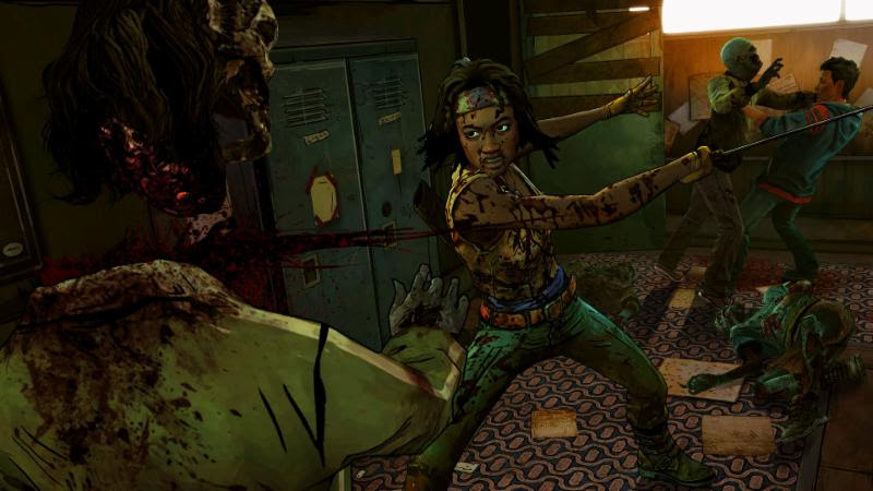 Michonne attacking zombie in The Walking Dead game