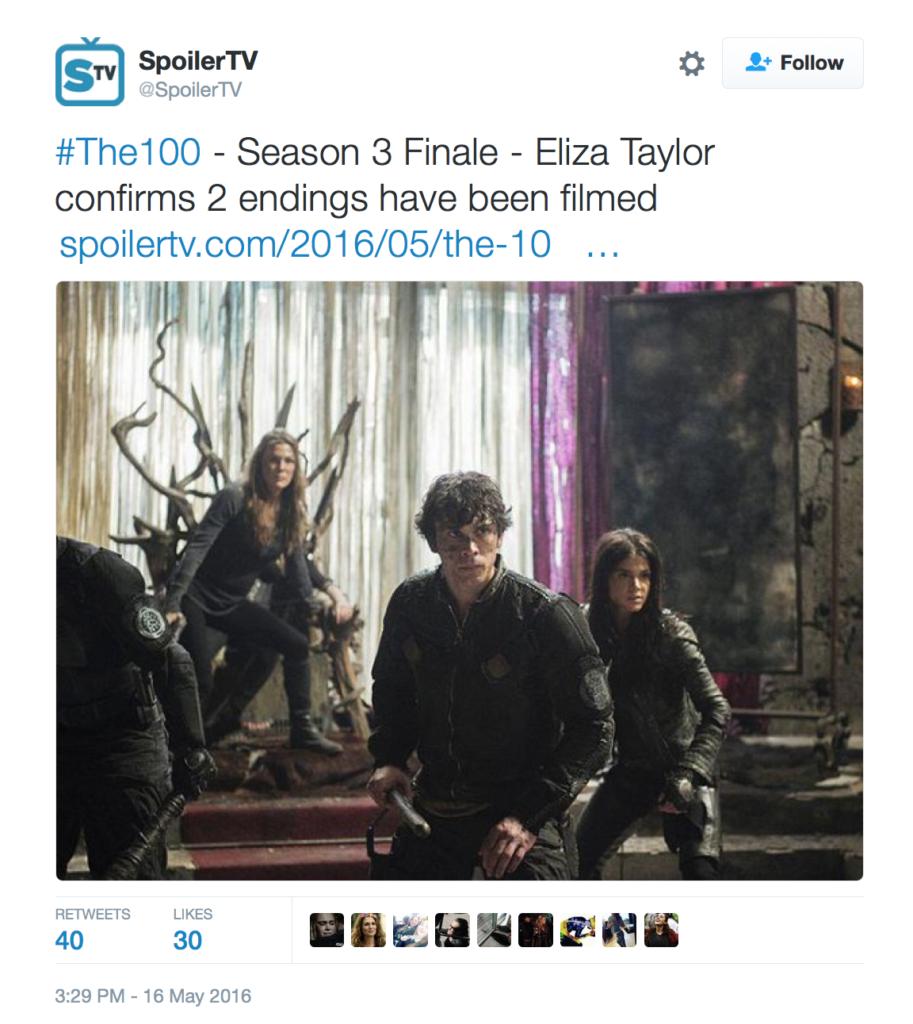 The 100 Season 3 Finale Spoilers