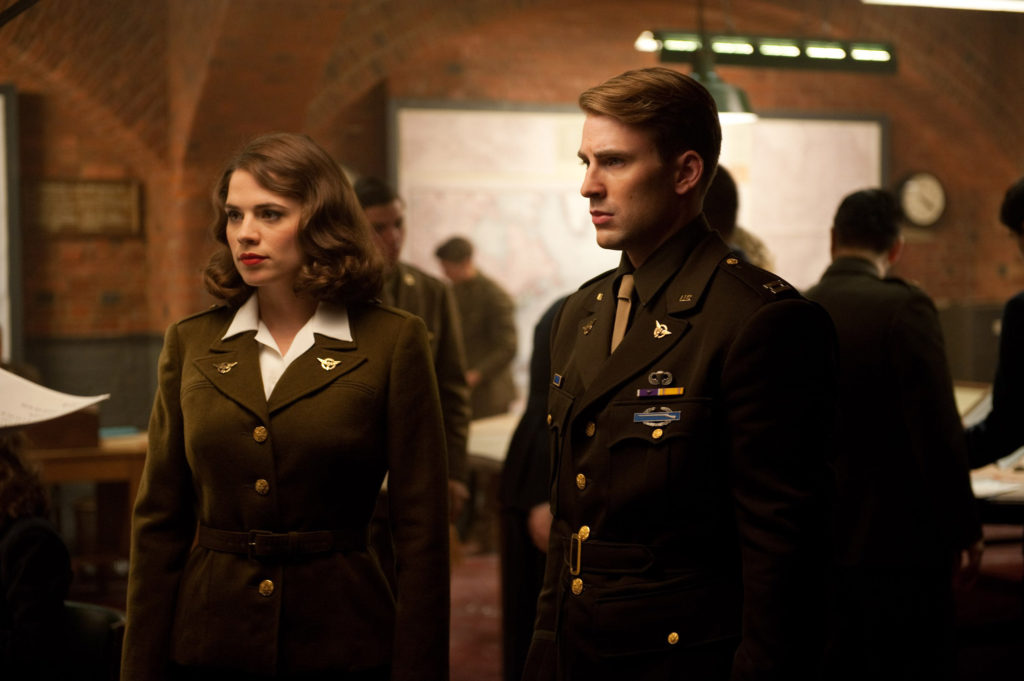 Hayley Atwell next to Chris Evans in Captain America: The First Avenger