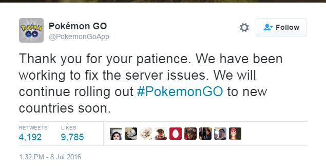 Pokémon Go Tweet