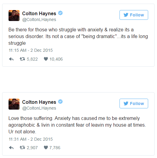 Colton Haynes Anxiety