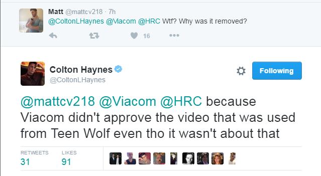 Viacom Block Colton Haynes HRC Visibility Award Speech