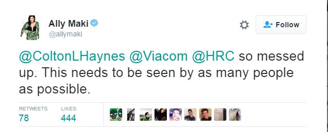 Viacom Colton Haynes HRC Visibility Award Speech Ban