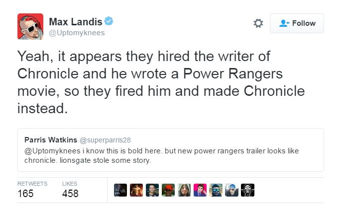 Power Rangers Max Landis Tweet