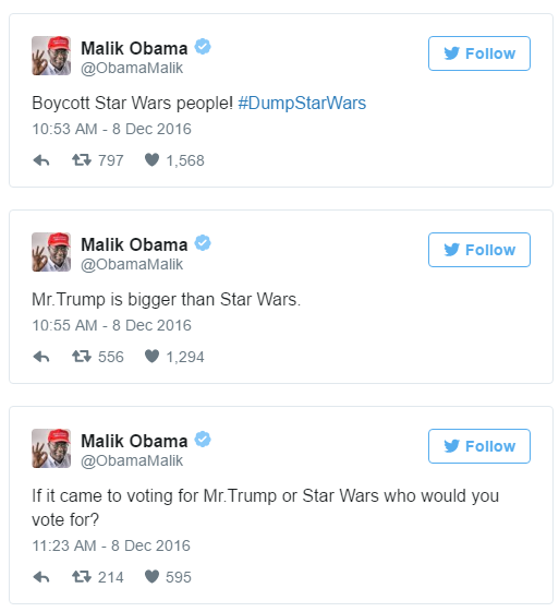 #dumpstarwars malik obama
