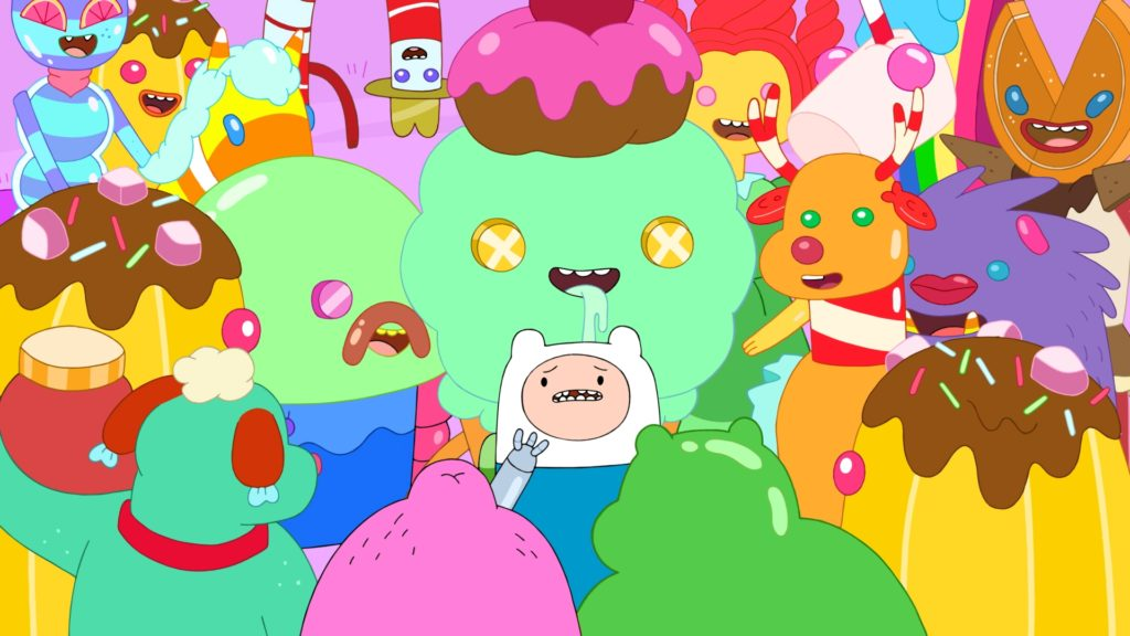 Finn surrounded by candy zombies in Skyhooks II.
