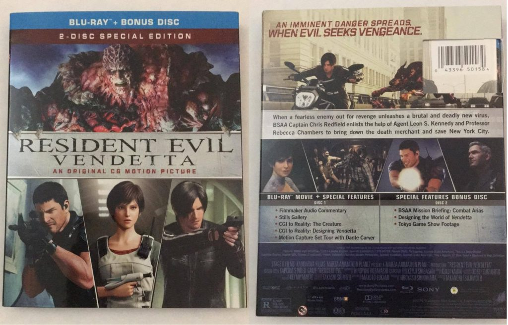 Resident Evil Vendetta 2 Disc Blu Ray Review Special Features