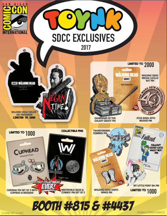 Toynk Toys 2017 SDCC Exclusive Pins