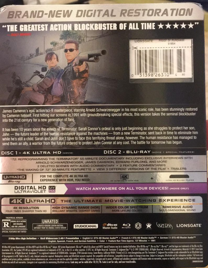 Terminator 2 Judgment Day 4K Ultra HD Blu-ray review Lionsgate