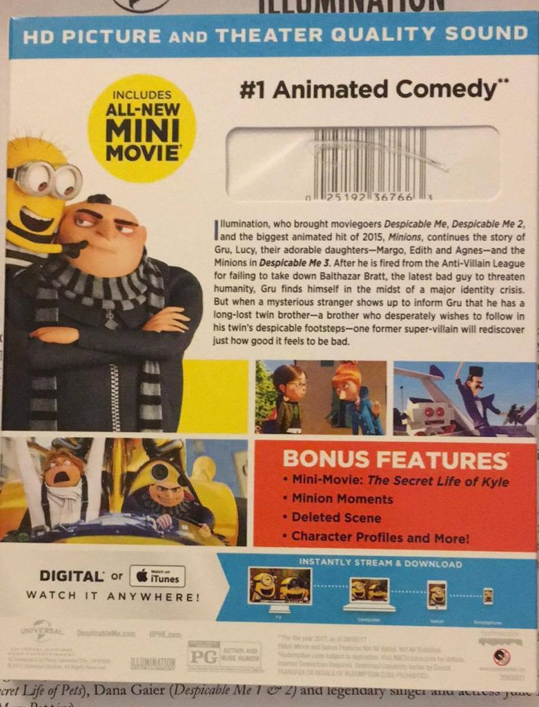 Despicable Me 3 Special Edition Blu-ray Combo Pack review Universal