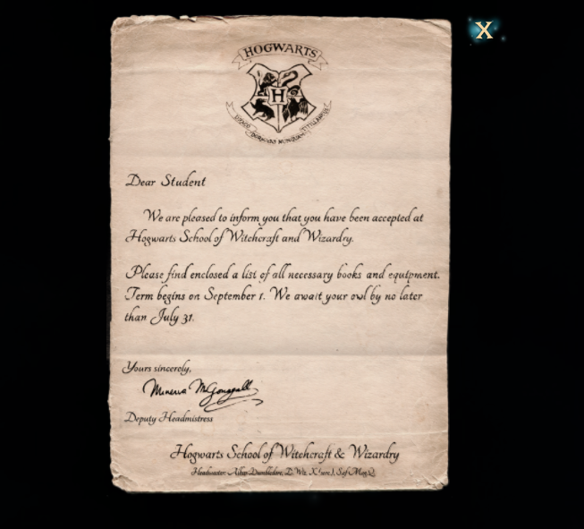 Harry Potter Hogwarts Mystery registration letter