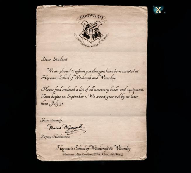 Harry Potter Hogwarts Mystery registration letter