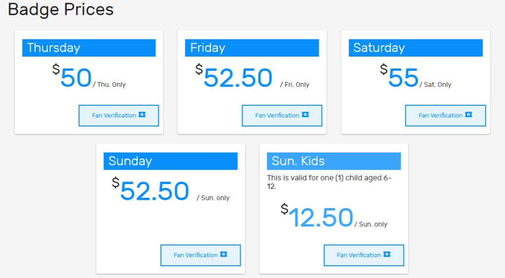 New york Comic Con prices