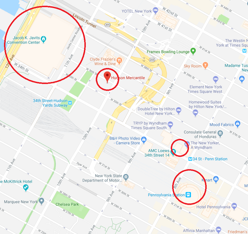 Location of NYCC Offsites in Relation to Javits