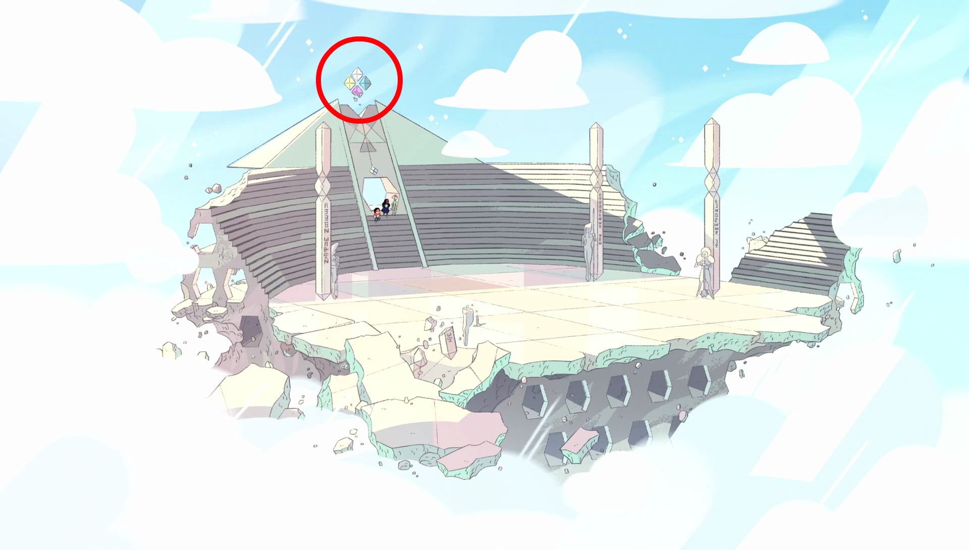 pink diamond crumbling sky arena sworn to the sword