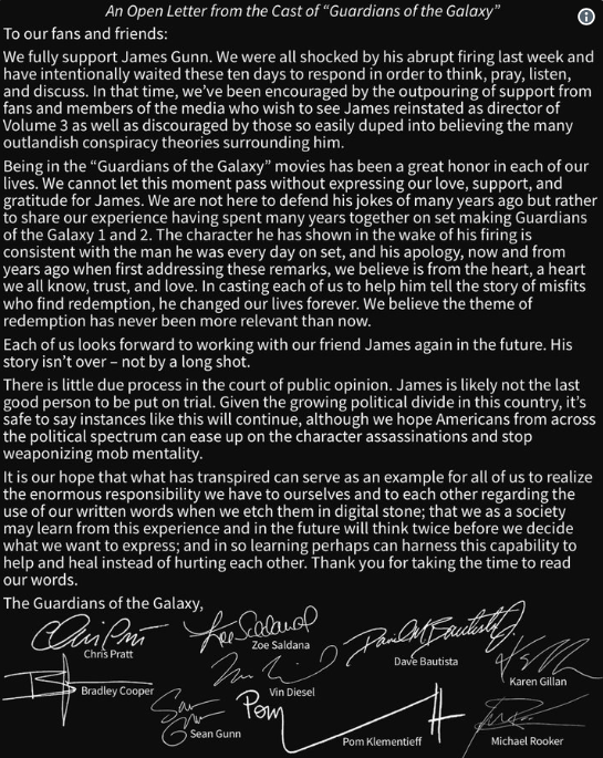 James Gunn GotG Letter Disney