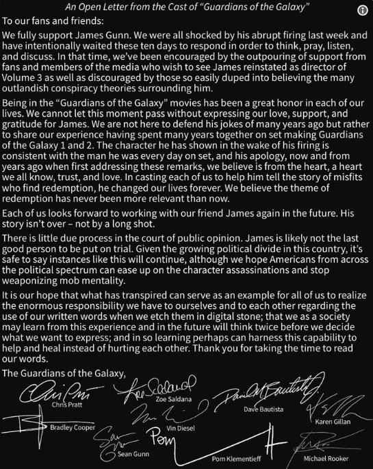 James Gunn GotG Letter Disney