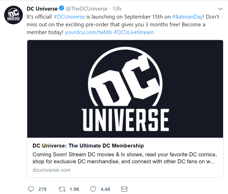 DC Universe Streaming service September launch Titans October