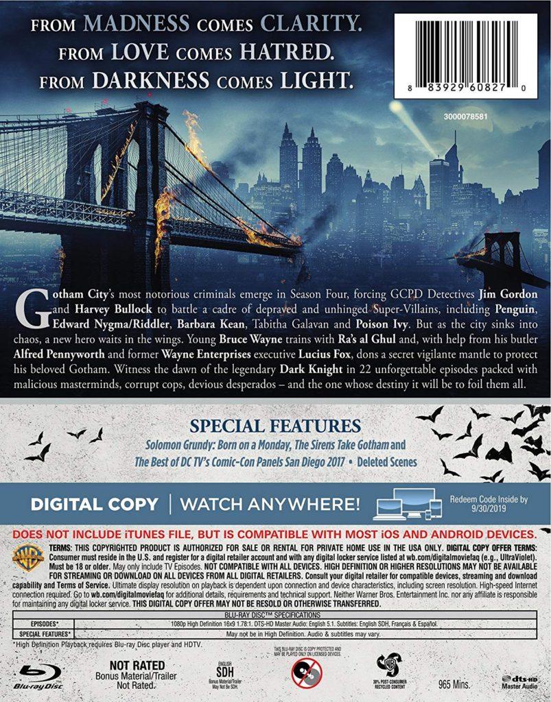Gotham Season 4 Blu-ray release