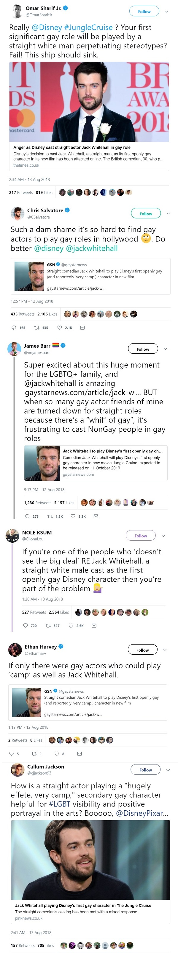 Jack Whitehall Jungle Cruise casting Disney gay character