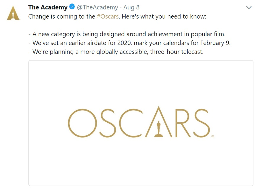 Oscars Popular Film Changes 2018 2020