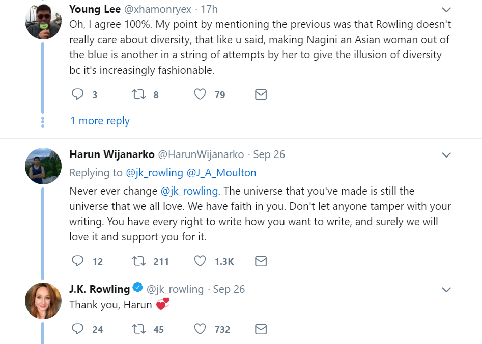 Rowling Nagini Support tweet