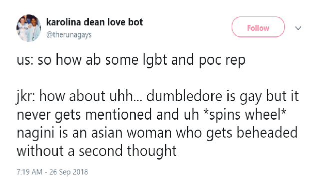 Rowling Nagini Backlash