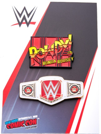 WWE Women's Championship Title Belt and Ronda Rousey Pin Set