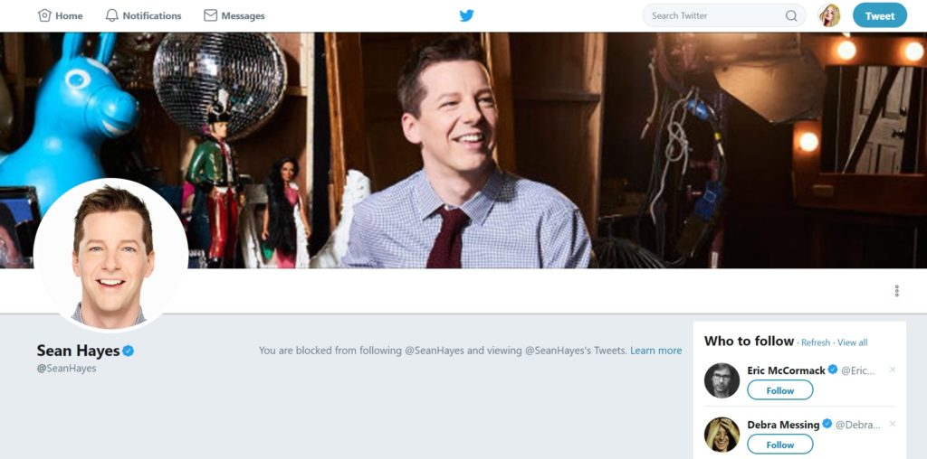 Sean Hayes Twitter blocked