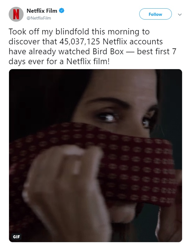 Bird Box Netflix 2018 Sandra Bullock views