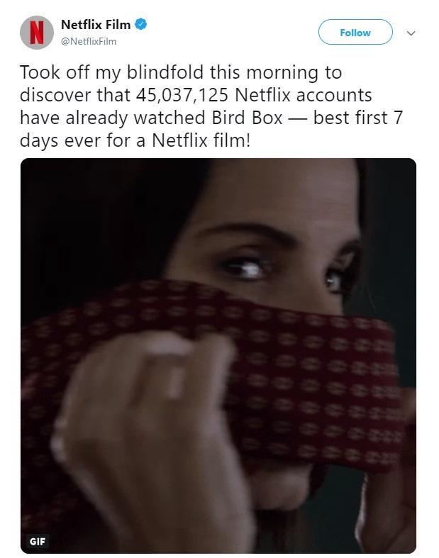 Bird Box Netflix 2018 Sandra Bullock views