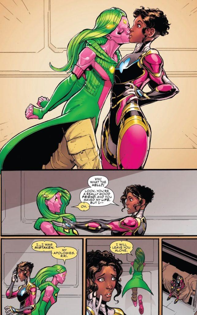 Champions Issue 27 Marvel Riri Ironheart kiss Vivian