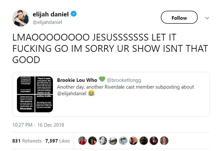 Elijah Daniel Tweet Riverdale