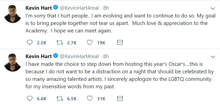 Kevin Hart 2019 Oscars Tweets