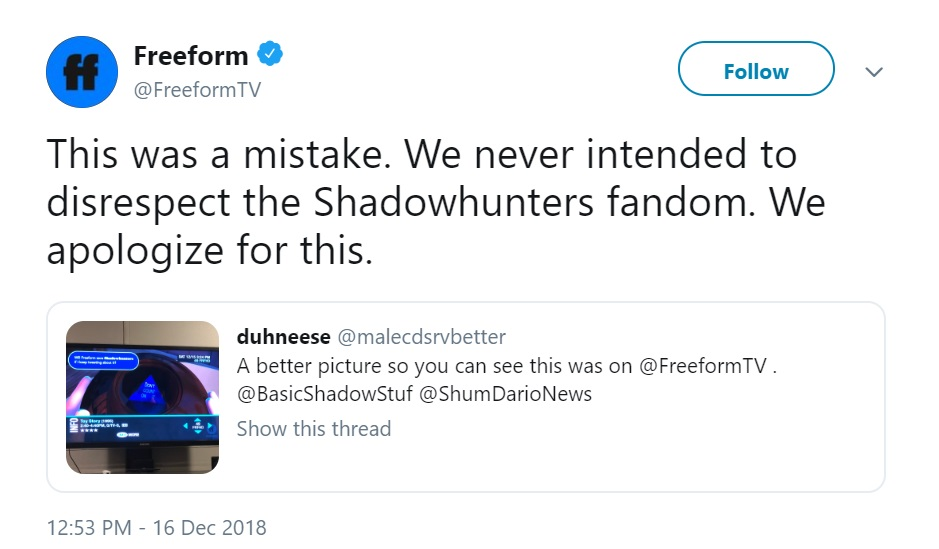 Shadowhunters Freeform excuse