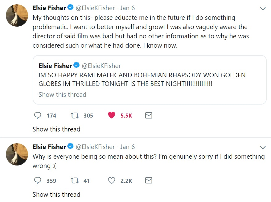 Elsie Fisher bohemian Rhapsody cyberbullying