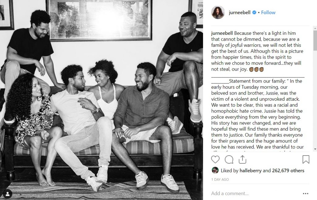 Jussie Smollett Statement Racist Homophobic attack