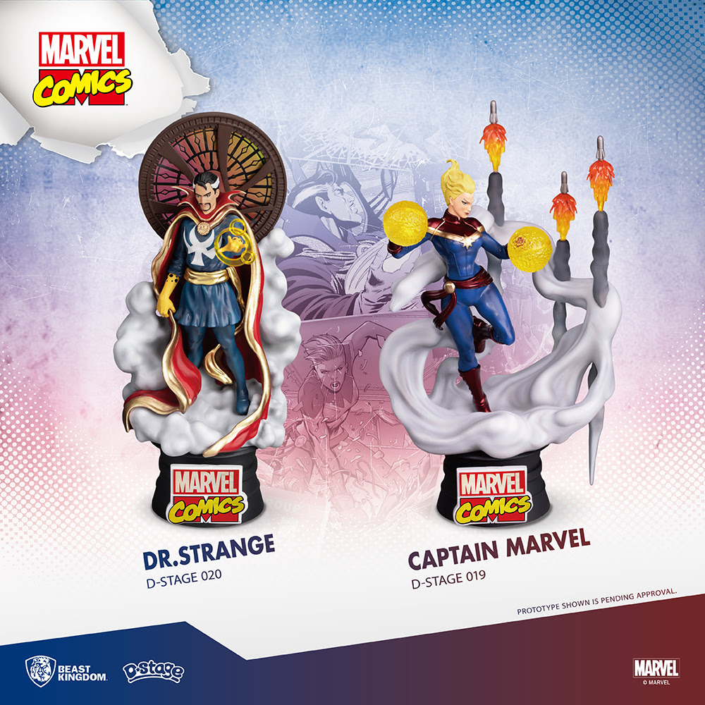 doctor strange captain marvel d-stage statues