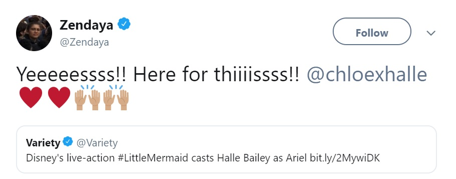Zendaya Halle Bailey little mermaid