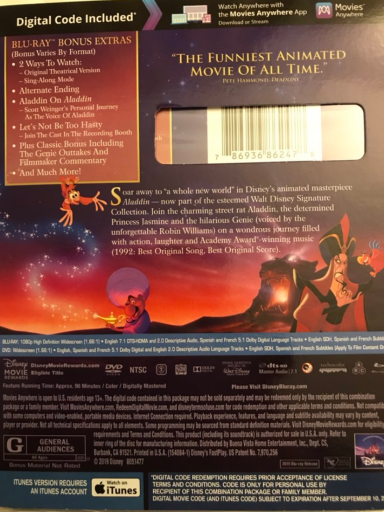 Aladdin animated Blu-ray review